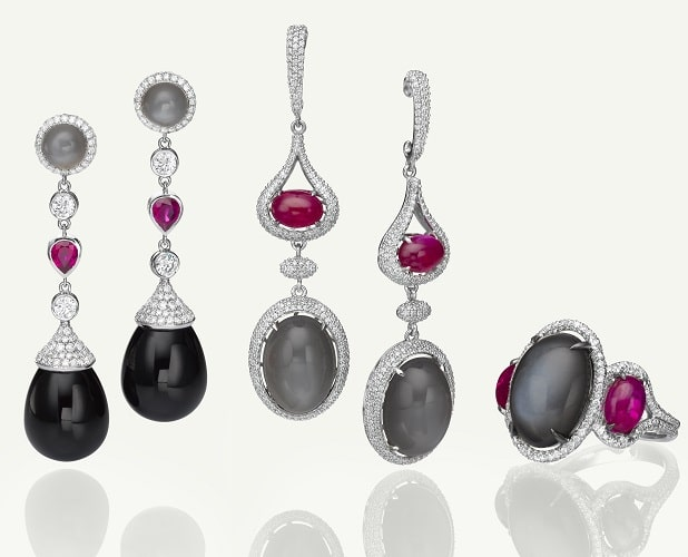 Onyx, Moonstone, Ruby and Diamond jewelry