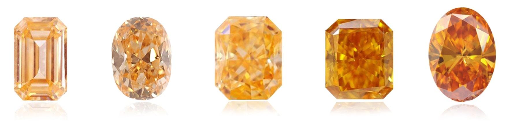 Farbskala orangefarbener Diamanten