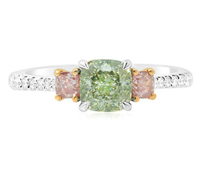 Leibish & Co. Green and Pink diamond ring