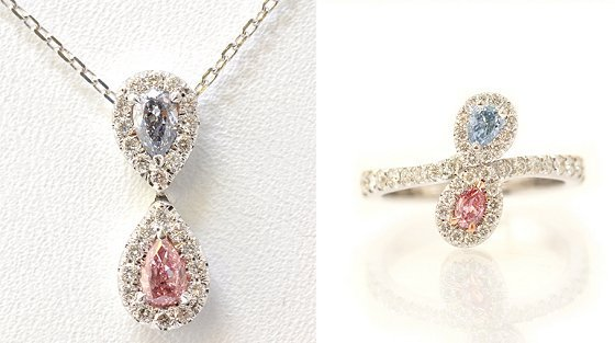 Pink and Blue Colored Diamond Jewelry