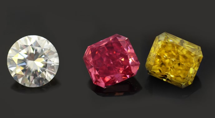 White, pink, and yellow diamonds