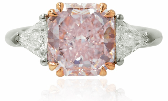 The Leibish & Co. 3.61 carat Fancy Purplish Pink Radiant Diamond Ring