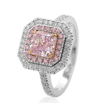 A 2.37 carat Fancy Purplish Pink double halo diamond ring