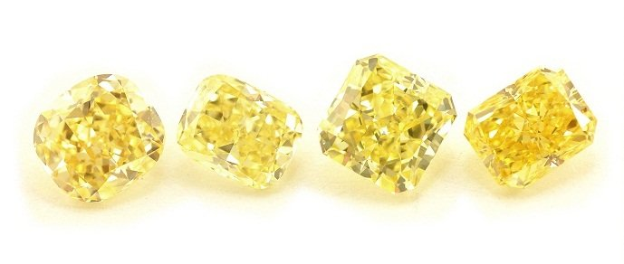 Radiant and Cushion yellow diamonds