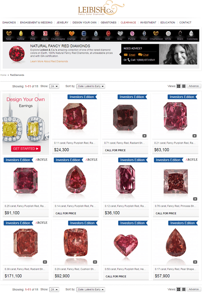Leibish's Red Diamonds Page