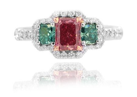 Three stone Red and Green Diamond Ring