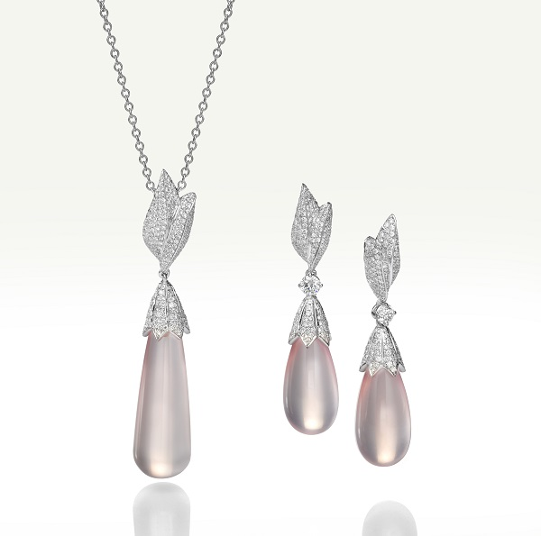 Rose quartz and diamond earrings and pendant