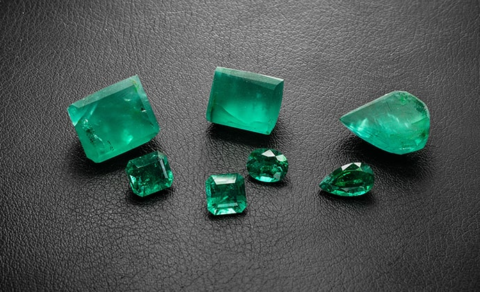 Rough and Polished Emeralds