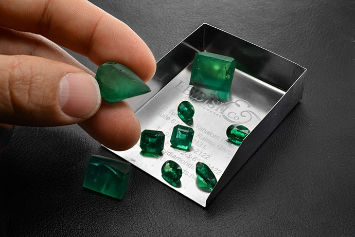 Rough and Polished Leibish Emeralds