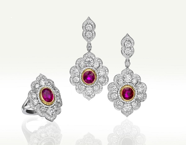 Ruby and diamond ring and earrings