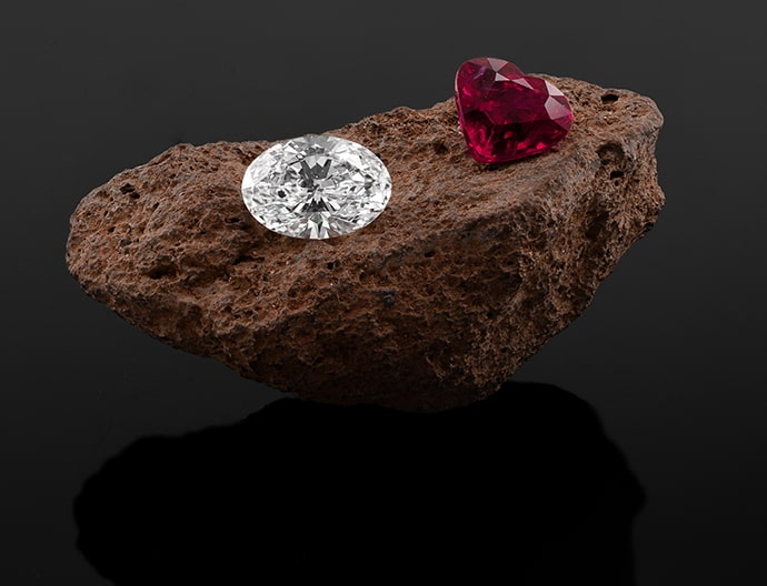 A ruby and a white diamond