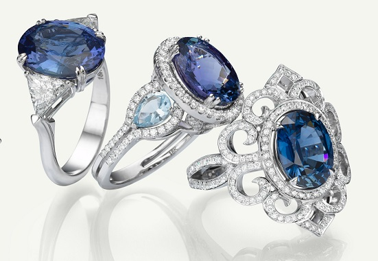 Tanzanite, Aquamarine, Sapphire and Diamond Rings