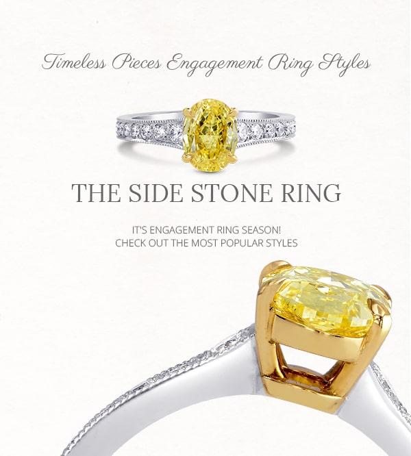 Side-stone diamond and gemstone rings