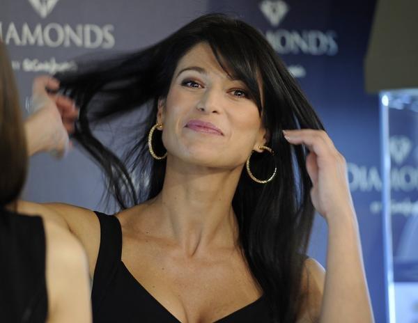 Sonia Ferrer in Leibish Diamond Earrings
