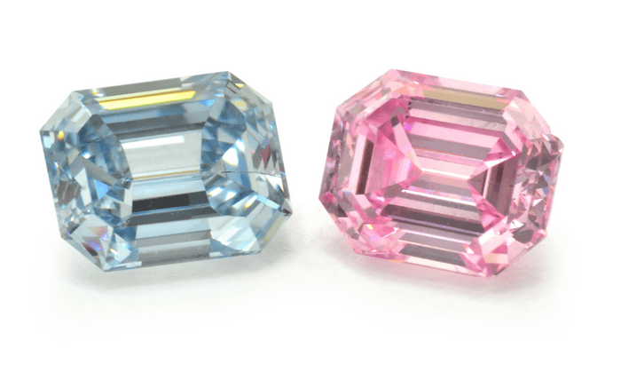 Fancy Intense Blue and Fancy Intense Pink Emerald Cut Diamonds