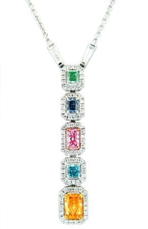 The Four Seasons Pendant contains 0.79ct, Fancy Vivid Orange diamond, a 0.19ct, Fancy Vivid Blue-Green diamond, a 0.22ct, Fancy Vivid Purple-Pink diamond, a 0.21ct, Fancy Vivid Blue diamond, and a 0.15ct, Fancy Vivid Green diamond