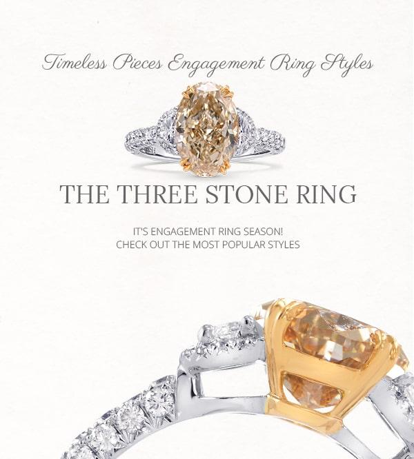 Three-stone diamond and gemstone ring styles