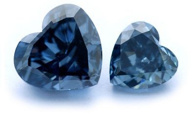 Two Blue Diamond Heart shapes