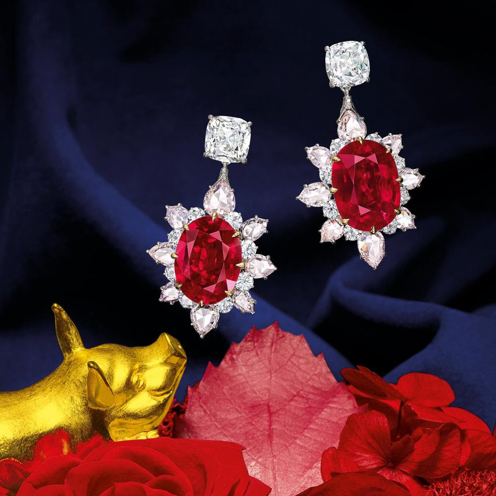 Mozambique Ruby earrings at Tiancheng International's December, 3 2017
