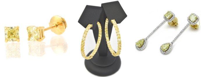 Various styles of Fancy Colored Diamond Earrings