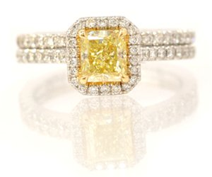 Wedding Set - Fancy Intense Yellow Halo Ring with Matching Wedding Band