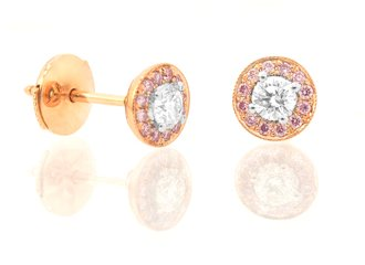 White and Pink Round Diamond Earrings