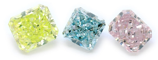 A yellow, pink and blue diamond