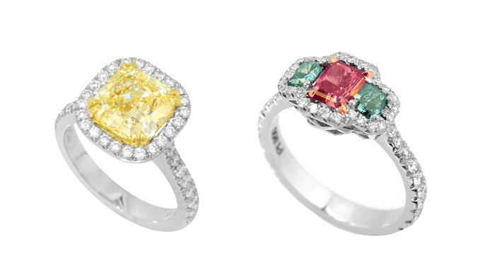 yellow and red diamonds engagement rings