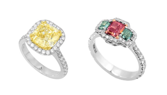 Verlobungsringe mit gelben und roten Diamanten