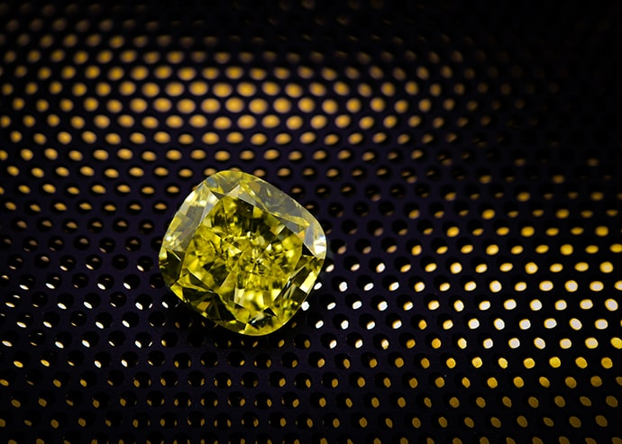 Yellow diamond cushion shape