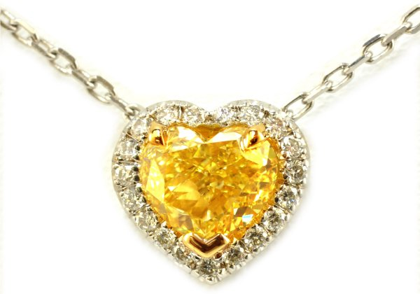 Yellow Diamond Heart-shaped Pendant