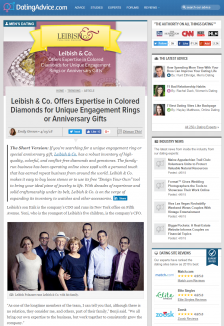 Dating Advice -  Leibish & Co. Offers Expertise in Colored Diamonds for Unique Engagement Rings or Anniversary Gifts