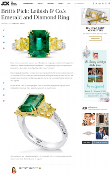 JCK - Britt's Pick: Leibish & Co.'s Emerald and Diamond Ring